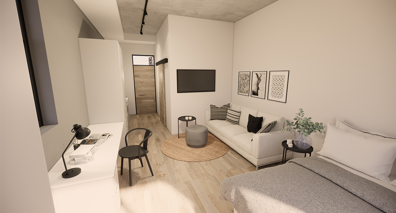 A bachelor apartment in Brooklyn House, Pretoria