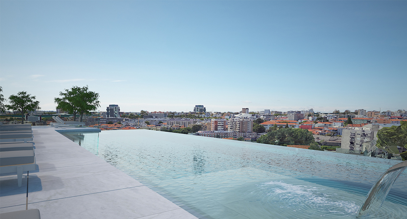 The Lapa Porto Hotel in Portugal, Porto's latest Golden Visa-approved project, features a rooftop pool with panoramic views of the city. Pam Golding International facilitates property sales and residency here.