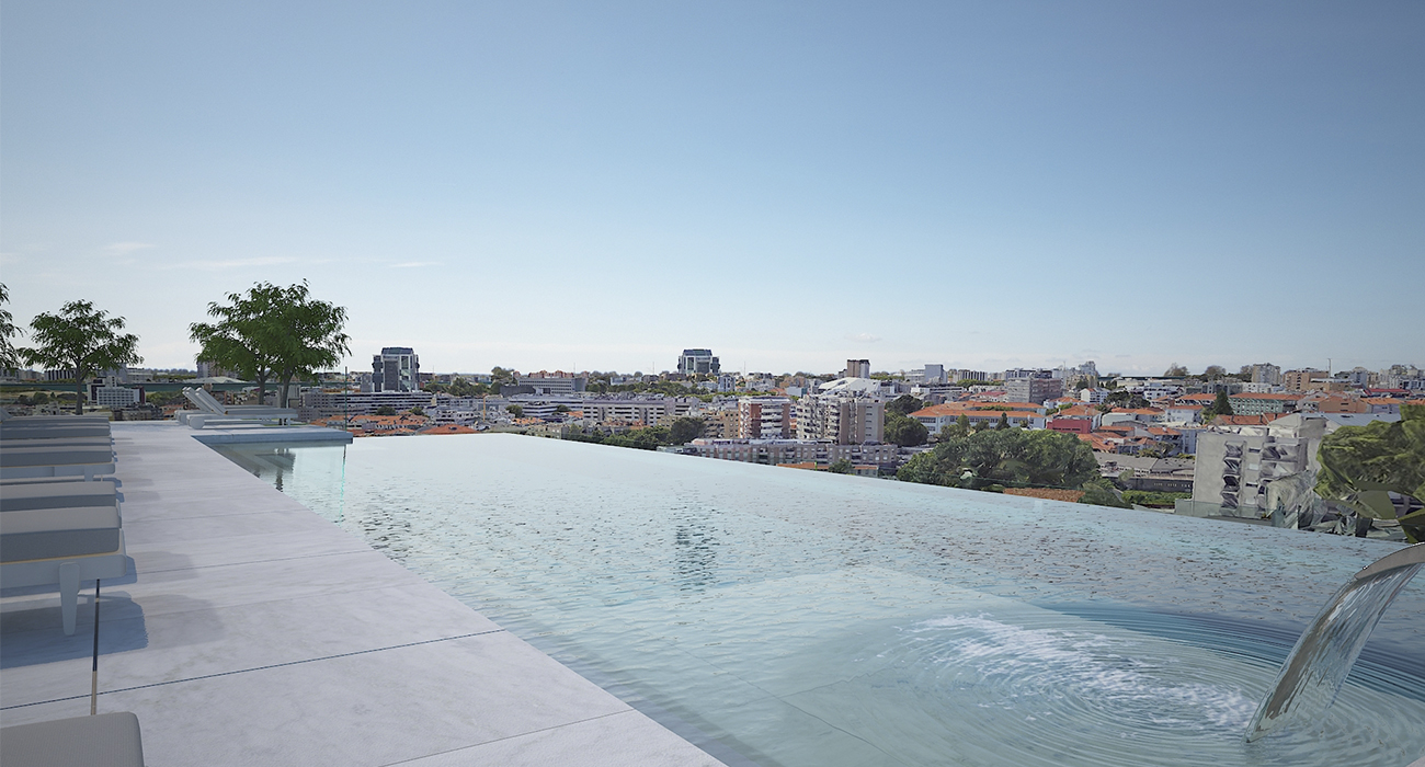 The rooftop pool at the new Porto Lapa Hotel, Portugal