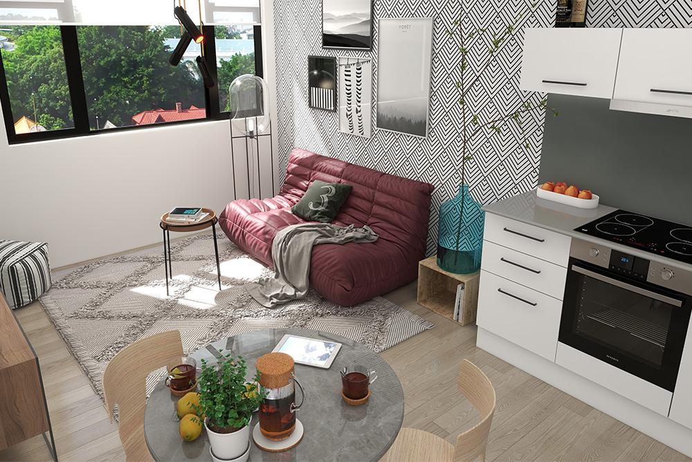 PineworX apartments interior kitchen